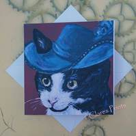 Musketeer Kitty Blank Greeting Card From my Original Acrylic Painting Cat