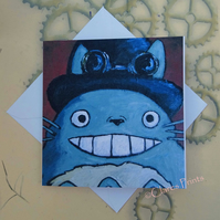 Steampunk Totoro Blank Greeting Card From my Original Acrylic Painting