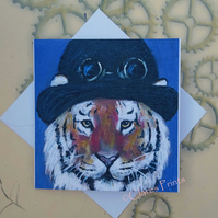 Steampunk Tiger Blank Greeting Card From my Original Acrylic Painting