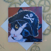 Pirate Kitty Greeting Card From my Original Painting