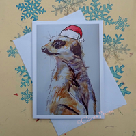 Christmas Meerkat Art Card from Watercolour Painting