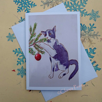 Christmas Kitten Cat Art Greeting Card from Watercolour Painting