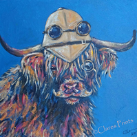 Steampunk Highland Cow Original Art Acrylic Painting on Canvas Retro