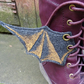 Steampunk Fabric Boot Wings Bat Goth Black Gold