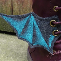 Steampunk Fabric Boot Wings Bat Wings Black Blue Cosplay