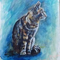 Tabby Cat Original Acrylic Animal Art Painting