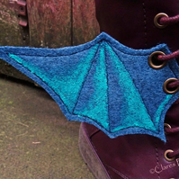Steampunk Fabric Boot Wings Bat Wings Blue Cosplay