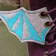 Steampunk Fabric Boot Wings Bat Wings Grey Blue Cosplay