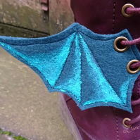 Steampunk Fabric Boot Wings Bat Wings Green Turquoise Cosplay