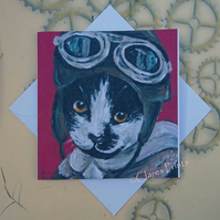 Flying Kitty Cat Card Steampunk From my Original Acrylic Painting