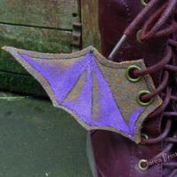 Steampunk Fabric Boot Wings Bat Wings Brown Lilac Cosplay