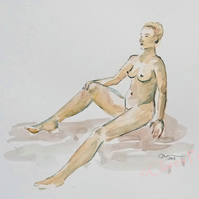 Female Nude Reclining Original Watercolour Art Painting