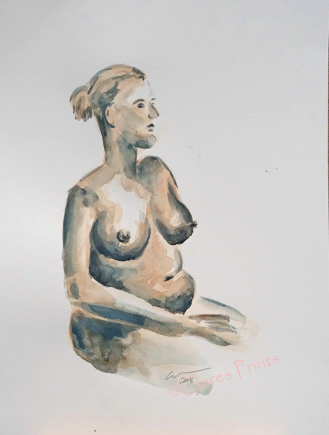 Female Nude Original Watercolour Art Painting