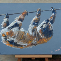 Sloth Painting Art Original Acrylic Animal Painting on Canvas OOAK
