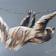 Sloth Walk Painting Art Original Acrylic Animal Painting on Canvas OOAK