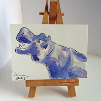 ACEO Hippo Grin Animal Art Original Watercolour and Ink Painting OOAK