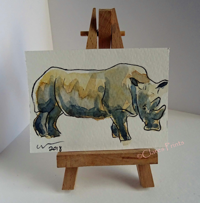ACEO Rhino Pose Animal Art Original Watercolour and Ink Painting OOAK