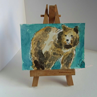 ACEO Brown Bear Pose Animal Art Original Watercolour and Ink Painting OOAK