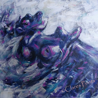 Baby Hippo Painting Art Original Acrylic Animal Painting on Canvas OOAK