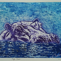 Hippo Limited Edition Original Collagraph Print Art