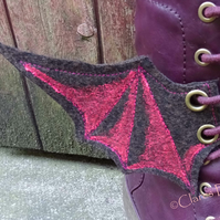 Steampunk Fabric Boot Wings Bat Wings Brown Pink Cosplay