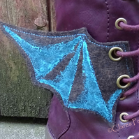 Steampunk Fabric Boot Wings Bat Wings Brown Blue Cosplay