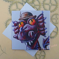 Steampunk Dragon Art Greeting Card From my Original Painting