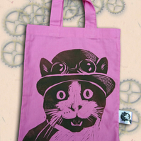 Steampunk Cat Pink Tote Hand Printed Turquoise Mini Tote Shopping Bag