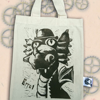 Steampunk Dragon Tote Hand Printed Mini Tote Shopping Bag