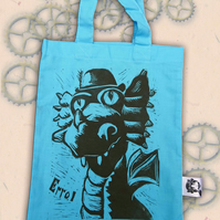 Steampunk Dragon Tote Hand Printed Blue Mini Tote Shopping Bag