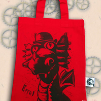Steampunk Dragon Tote Hand Printed Red Mini Tote Shopping Bag