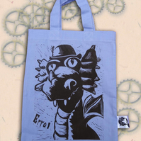 Steampunk Dragon Tote Hand Printed Lilac Mini Tote Shopping Bag