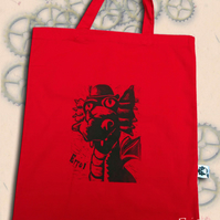 Steampunk Dragon Tote Animal Linocut Hand Printed Red Shopping Bag