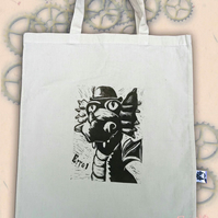 Steampunk Dragon Tote Animal Linocut Hand Printed Cream Shopping Bag