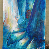 Curved Stairs Original Watercolour Art Painting