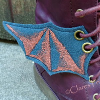 Steampunk Fabric Boot Wings Bat Wings Green Copper Cosplay