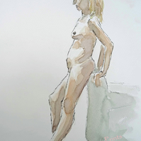 Standing Nude Lady Original Painting Art