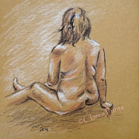 Sitting Nude Lady Original Drawing Art
