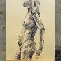 Leaning Nude Lady Original Drawing Art