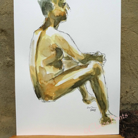 Seated Nude Man Original Painting Art