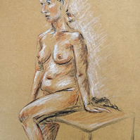 Seated Nude Lady Original Drawing Art