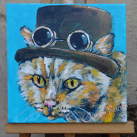 Steampunk Ginger Cat Original Art Acrylic Painting on Canvas Retro