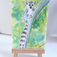 ACEO Animal Art Lemur Climb Original Watercolour and Ink Painting OOAK Monkey