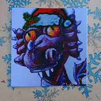 Christmas Steampunk Dragon Art Greeting Card From Original Painting