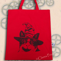 Harry Potter Cat Tote Bag Animal Linocut Hand Printed Red Shopping