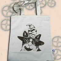 Harry Potter Cat Tote Bag Animal Linocut Hand Printed Cream Shopping