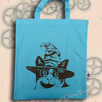 Harry Potter Cat Tote Bag Animal Linocut Hand Printed Blue Shopping