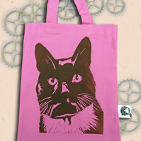 Black Cat Bag Pink Lino-Printed Hand Printed Mini Tote Shopping Bag Children