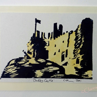 Dudley Castle Art Lino Print Blank Greeting Card with Watercolour