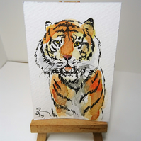 ACEO Animal Art Tiger View Original Watercolour and Ink Painting OOAK Cat